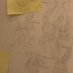 origionalart traditionalart sketch doodle fnaf bonnie witheredbonnie toybonnie vanny glitchtrap shadowbonnie springbonnie