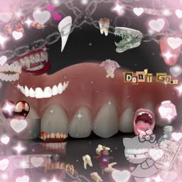 weirdcore teeth pink dark freetoedit unsplash