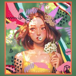 freetoedit aesthetic girl digitalart flower rccolorfulcollageaesthetic