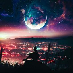 freetoedit galaxy planet aloneboy cityscapes