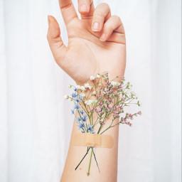 flowers bandaid hand arm white blue pink remixme remix interesting freetoedit