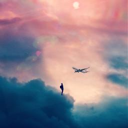 picsart fantasy nature beautifulwork criativ colors clouds plane remixed remixit freetoedit
