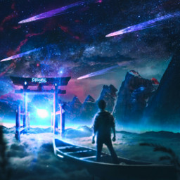 freetoedit galaxy portal mountains abovetheclouds boat aloneboy standing nightsky madebyme madewithpicsart fantasy freetoeditremix