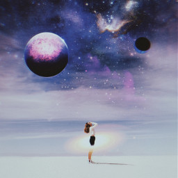 galaxy space aesthetic art freetoedit tumblr girl photography planets