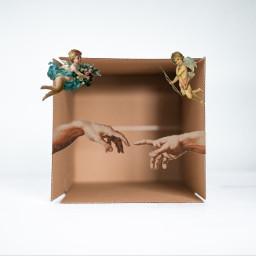 angels angel freetoedit box paper heaven hand hands background hi