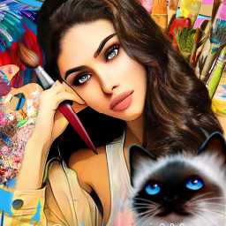 girl painting cat colourful eccolorfulwaves freetoedit