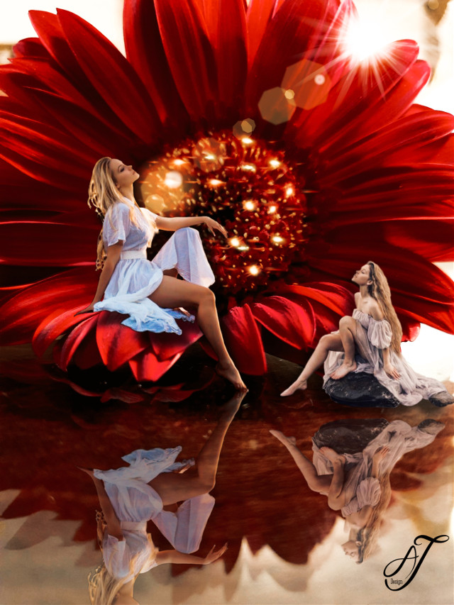 #flower #flowers #red #sitting #fairytales
