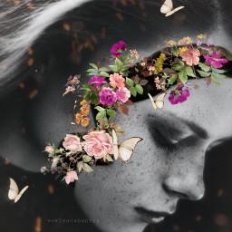 flowerface photomanipulation drawingtools woman face freetoedit