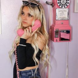 payphone pinkphone blondehair telephone blondgirl styleinspo blondhairdontcare love pink fun happy cute