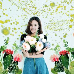 picsart art multicolor girl beautifulwork flowers interesting green love myedit remixit remixed freetoedit