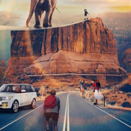 freetoedit remixed picsart picsarttool myedit editedbyme surreal surrealedit city citybackground sky clouds lights rope elephant the_elephant_on the_girl_on_the_rope boy bird road rockwall womens man bicycle car