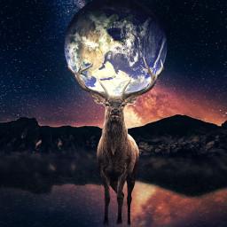 madewithpicsart photoart manipulation picsart freetoedit __prince_creation__ nature earth deer