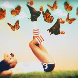 freetoedit rollerskates butterflies summer relax
