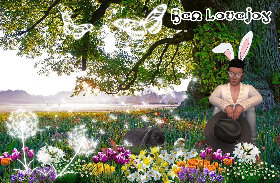 #easter #dandelion #butterfly #glow #glowinthedark #glowart #flowers #sunset #tree #narure