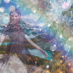 girl mountains rainbow flowers blue scenery landscape butterfly butterflies trees madebyme madewithpicsart loveit ircfashionpose fashionpose freetoedit