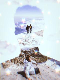 doubleexposure picsarteffects fantasy silhouette mountain surreal juanpazurita youtuber macarenaachaga sunshine sunlight nubes sky landscape mountains estrellas glow luminous freetoedit