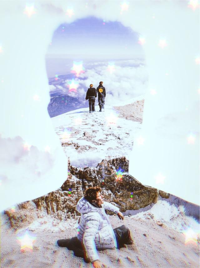 INSTAGRAM: @margo34277 YOUTUBE CHANNEL: MARGO P #doubleexposure #picsarteffects #fantasy #silhouette #mountain #surreal #juanpazurita #youtuber #macarenaachaga #sunshine #sunlight #nubes #sky #landscape #mountains #estrellas #glow #luminous