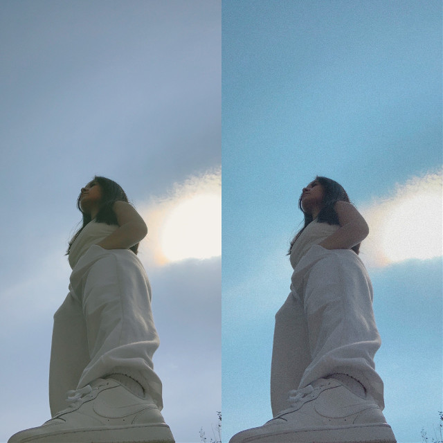 Which one do you like better? Asking for a friend #sky #nikeshoe #allwhite #checkthefit #edits #opinionspls #spring #freetoedit