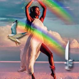 remixed rainbows sea starfish freetoedit