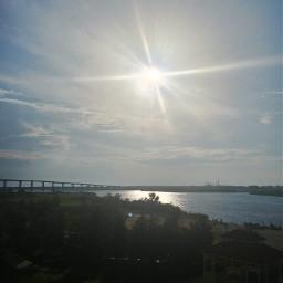 sunrise bridge lake sun sky