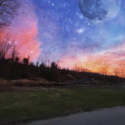fullmoon moon stars sky photography galaxy paintingeffect sparkle night madewithpicsart picsart freetoedit