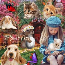 girl animals garden fcexpressyourself expressyourself freetoedit
