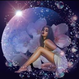 freetoedit moon lady picsart picsarteffects wintermoodboard stars fcexpressyourself expressyourself