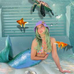 remix underwater undersea ocean sea mermaid fish aquatic aquarium nature freetoedit