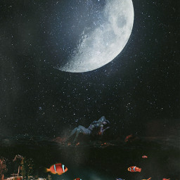 fish water alone dark moon glow fantasy 365world freetoedit