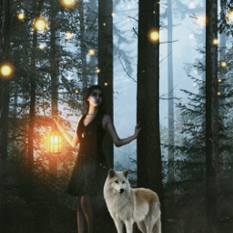 woods edit night light glow wolf fantasy girl 365world freetoedit