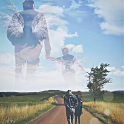 grief couple angels child grandpa sky clouds man woman road field freetoedit