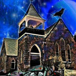 manitousprings church raven indianmotorcycle nightfall freetoedit