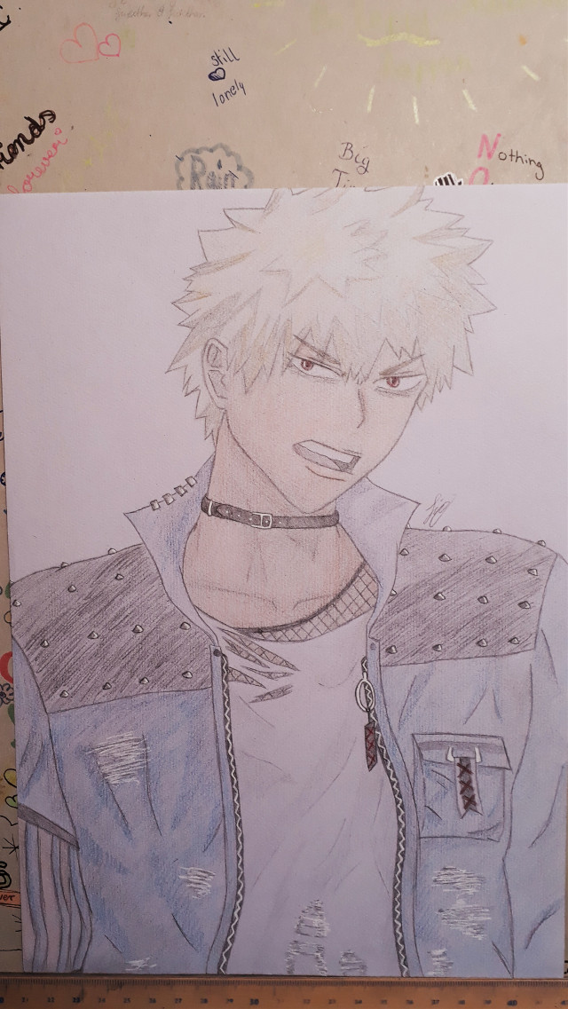 FINALLY!! You don't knoe how long I've been working on this drawing O_o   this is for @pantheworm   I'm so sorry for taking a almost a freaking month ;-;   hope you like i tho  I messed up the neck... the color is too dark and dirty bc of the shading w/ pencil under it But the jacket looks pretty cool  If you're still here - have you any whish who I should draw next? I have 41 characters but can't decide >_< _________________________ Here's the END        have a great day guys 🎆 #bakugoukatsuki #mha #imbored  🌻*Taglist*🌻  {💖}@girlygirl27  {💎}@ninja_shoyo  {💫}@pizzalover5803  {🐾} {💚}@-iloveanime  {🌺}@_mery_grey_  {❄}@icyhawt  {🍣}@hai1kyu  {🌊}@official_bakuhoe  {🍙}@a_fellow-anime_lover  {⚡}@marlin1305  {🎵}@xvictory08x  {🌼} {✨}@animeweeb191  {⚓}@chatbugvs1  {🌕} {🍃}@karisnakasone127  {🌟}@_beautyqueenfrommars  {☁️} {💗}@ivettgyerek  {🎶}@starbucksqueenbee  {🍀}@sophiedophie2015  {🌼}@pantheworm {💥}@_bxkugou_explosion_  {💕}@-eri-chan-  {✨}@silverxstone  {🌙}@kyoka_akabane  Comment if you want to be on my taglist, changed your name or want to be removed