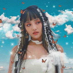 freetoedit unsplash woman girl fantasy love cute aesthetic vintage wings surreal tumblr photography picsartedit stars myedit myart photograph butterfly art magical clouds sky replay