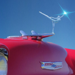 57chevy belair 1957 musclecar hotrod red silver chrome hoodornament freetoedit ballerinesilhouette
