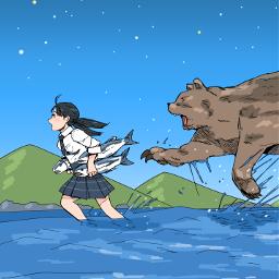 drawing girl bear freetoedit