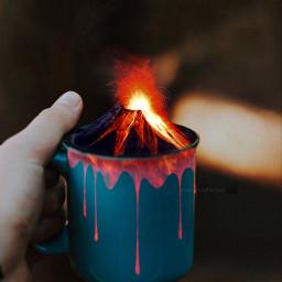 freetoedit surreal hand volcano lava