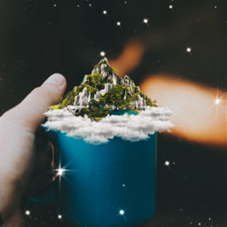 coffeecup coffeemug mountain mountains freetoedit cloud clouds sparkle remixit