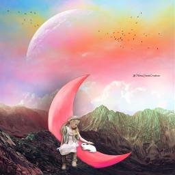 dreamy mystical littlegirl bunny rabbit halfmoon rainbow pinksky moon redmoon mountains freetoedit
