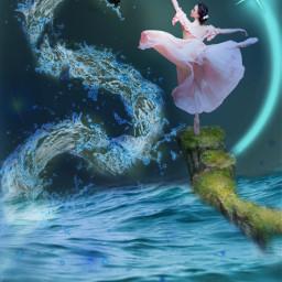 freetoedit watergoddess dragon ocean watersplash fcexpressyourself
