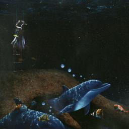 dolphin waterlife fantasy night edit girl aquatic freetoedit