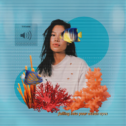 fish blue orange retro retroaesthetic ocean oceaneyes corals coralreef music sea summer tv collage art replay indie aesthetic graphicdesign freetoedit