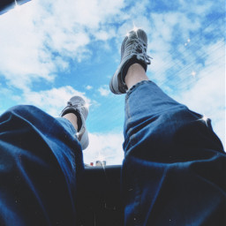 aesthetic blue aestheticblue blueaesthetic clouds shine superstar shoes jeans freetoedit