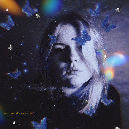 butterfly cloud galaxy stars edit replay glitter glittercloud star woman girl blackandwhite black blue purple freetoedit unsplash