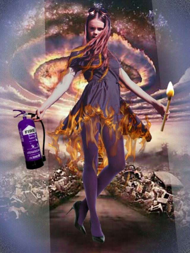 #fashionpose #girl #fire #flames #playingwithfire #match #fireextiguisher #imagination #myimagination #stayinspired #create #creativity #justforfun #heypicsart #surreal #surrealart