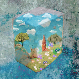 freetoedit paintedstone skyblue fieldstonecabin partlysunny storybookart perspective threedimensional remixedbyme