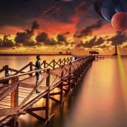freetoedit remixed picsart picsarttool myedit editedbyme mystickers surreal surrealedit bridge sky clouds planets birds sunset boy man couple lighthouse lights heypicsart
