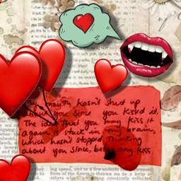 love loverletter mouth smile redlips lovehearts fangs gushing freetoedit ecpaperaestheticframes paperaestheticframes