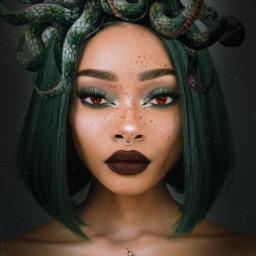 woman nature girl makeup makeupartist maquillaje serpiente medusa green verde eyes ojos replay freetoedit
