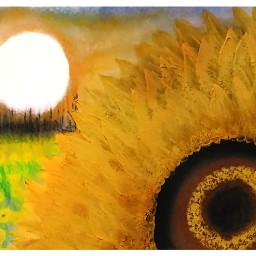 painting oilpastel sun landscape flower sky girasoles